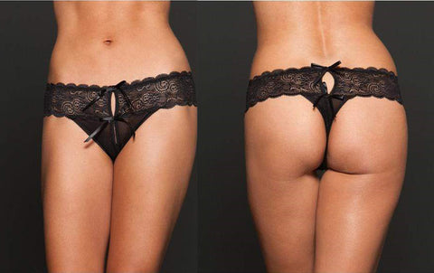 iCollection - Open Crotch Mesh Thong Queen (Black)