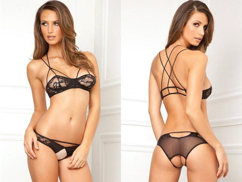 Rene Rofe - Lace Bra & Crotchless Panty Set Black