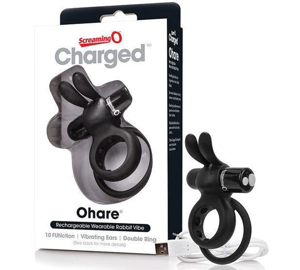 The Screaming O - Charged Ohare Rechargeable Wearable Rabbit Cock Ring (Black)