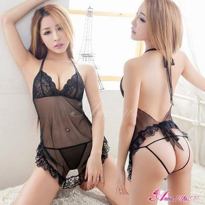 Anna Mu - 2 Piece Looming Lace Stomachers NA11030302 (Black) | CherryAffairs Singapore