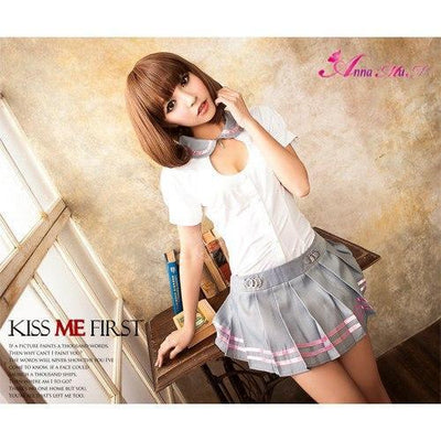 Anna Mu - 2 Piece School Girl Uniform Cosplay Costume Set NA11030015 (White) Costumes - CherryAffairs Singapore