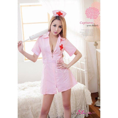 Anna Mu - 2 Pieces Nurse Cosplay Costume Set NA15030092 (Pink) Costumes - CherryAffairs Singapore