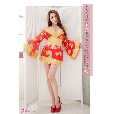 Anna Mu - 3 Pieces Japanese Kimono Outfit Costume Set NA14030049 (Red) Costumes - CherryAffairs Singapore