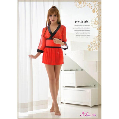 Anna Mu - 3 Pieces Mesh Semi Transparent Kimono Costume Set NA14030001-2 (Red) Costumes - CherryAffairs Singapore