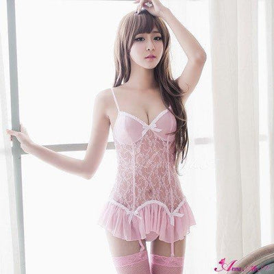 Anna Mu - 4 Piece Gorgeous Lace Camisole & Garter Set NA13030029-6 (Pink) Lingerie - CherryAffairs Singapore