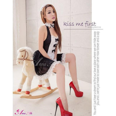 Anna Mu - 4 Pieces Bow Knots Maid Costume Set NA14030029 (Black) Costumes - CherryAffairs Singapore