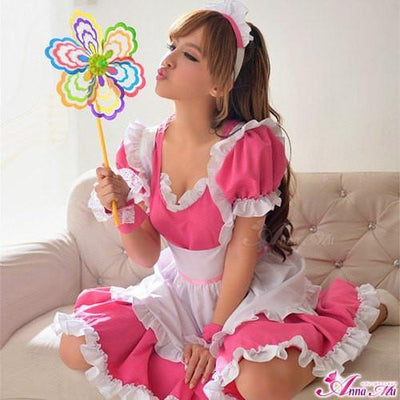 Anna Mu - 4 Pieces Cherry Maid Costume Set NA14030035 (Pink) Lingerie (Non Vibration) - CherryAffairs Singapore