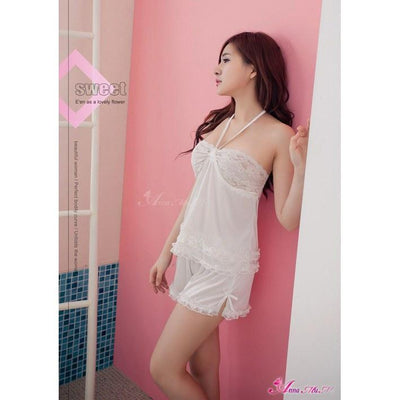 Anna Mu - Attractive Halter Neck Top & Short Set NA09020142 (White) Chemises - CherryAffairs Singapore