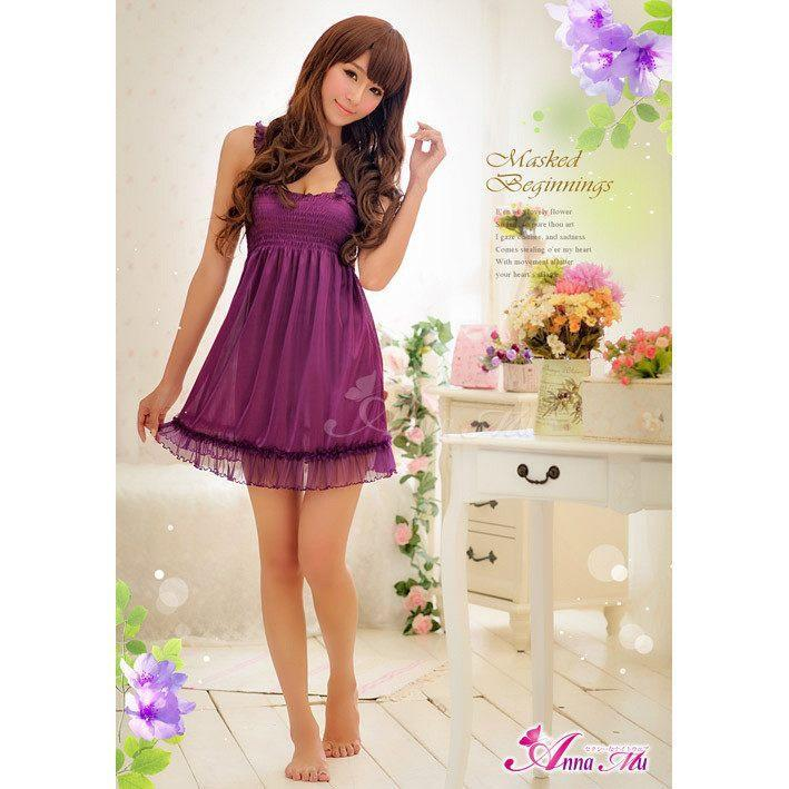 Anna Mu - Attractive Ruffled Chemise NA09020177 (Purple) | CherryAffairs Singapore