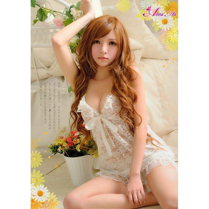 Anna Mu - Babydoll & Sleep Wear Mature Charm NA09020208 (White) | CherryAffairs Singapore