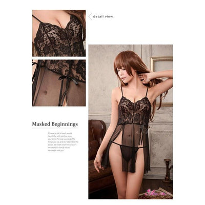 Anna Mu - Babydoll & Sleep Wear Mature Charm NA10020066 (Black) Chemises - CherryAffairs Singapore