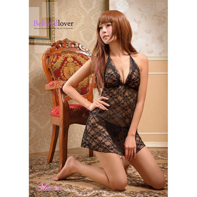 Anna Mu - Babydoll & Sleep Wear Mature Charm NA10020073 (Black) Chemises - CherryAffairs Singapore