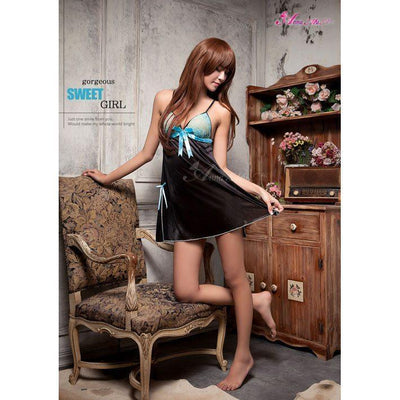 Anna Mu - Babydoll & Sleep Wear Mature Charm NA11020127 (Black) Chemises - CherryAffairs Singapore