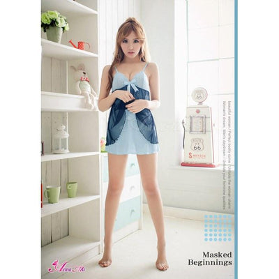 Anna Mu - Babydoll & Sleep Wear Mature Charm NA11020139-2 (Blue) Chemises - CherryAffairs Singapore