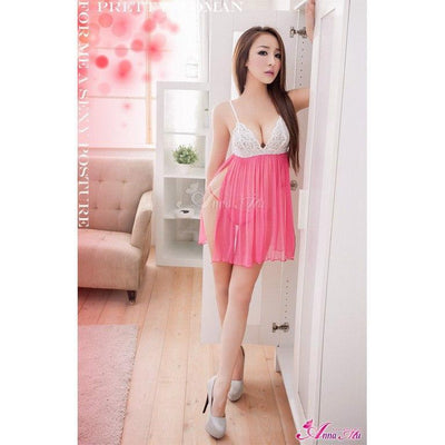 Anna Mu - Babydoll & Sleep Wear Mature Charm NA13020036 (Pink) Chemises - CherryAffairs Singapore
