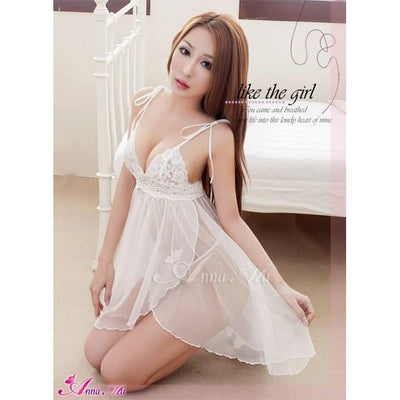 Anna Mu - Babydoll & Sleep Wear Mature Charm NA13020078 (White) Chemises - CherryAffairs Singapore