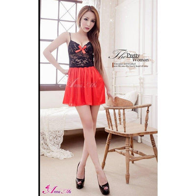 Anna Mu - Babydoll & Sleep Wear Mature Charm NA13020102 (Red) Chemises - CherryAffairs Singapore