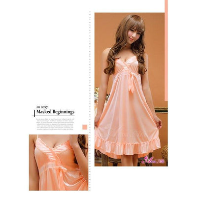 Anna Mu - Babydoll & Sleep Wear / Romantic Sweet NA10020008 (Pink) Chemises - CherryAffairs Singapore