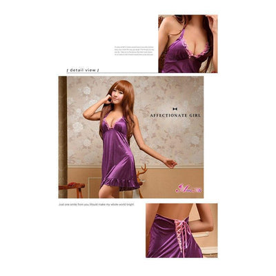 Anna Mu - Babydoll & Sleep Wear Romantic Sweet NA10020080 (Purple) Chemises - CherryAffairs Singapore