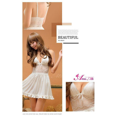 Anna Mu - Babydoll & Sleep Wear Romantic Sweet NA13020031 (White) Chemises - CherryAffairs Singapore