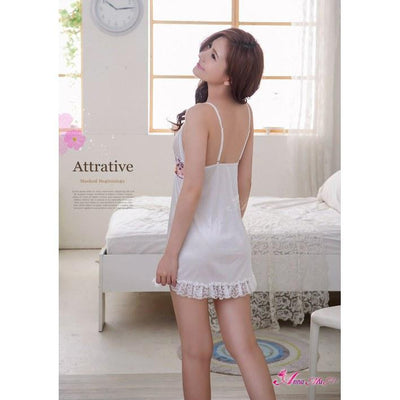 Anna Mu - Babydoll & Sleep Wear Romantic Sweet NA13020048 (White) Chemises - CherryAffairs Singapore