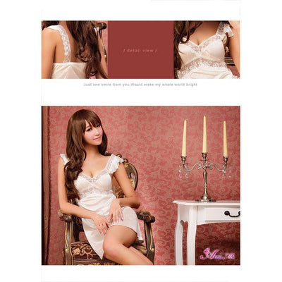 Anna Mu - Babydoll & Sleep Wear Romantic Sweet NA13020051 (White) Chemises - CherryAffairs Singapore