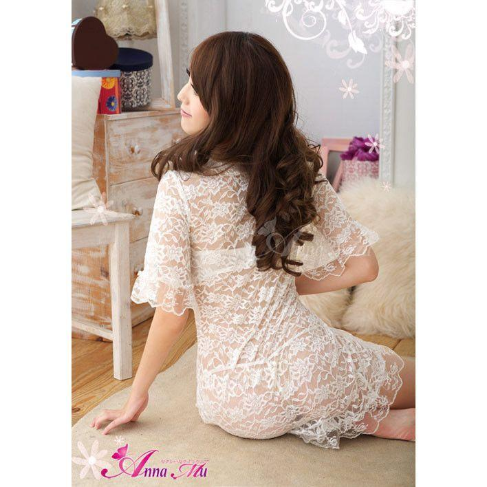 Anna Mu - Babydoll & Sleep Wear Wrap NA09020209 (White) | CherryAffairs Singapore