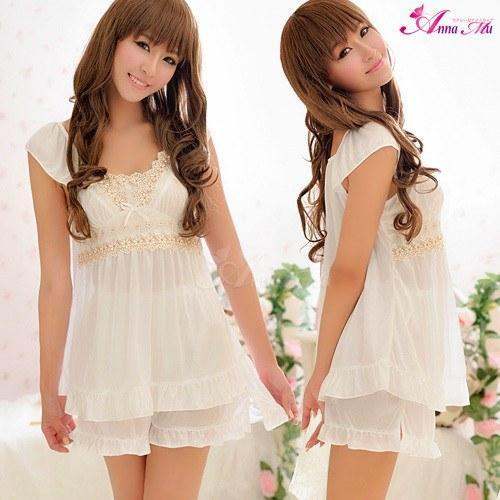 Anna Mu - Beautiful Ruffled Tops & Short Set NA09020127 (White) | CherryAffairs Singapore