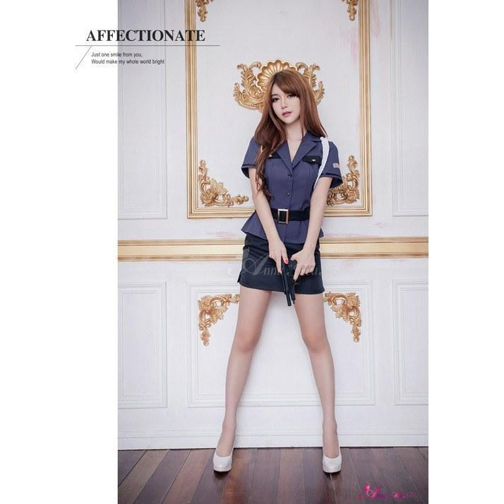 Anna Mu - Black And Gray Three Pieces Suit Police Outfit Cosplay Costume Set NA15030103 (Purple) Costumes - CherryAffairs Singapore