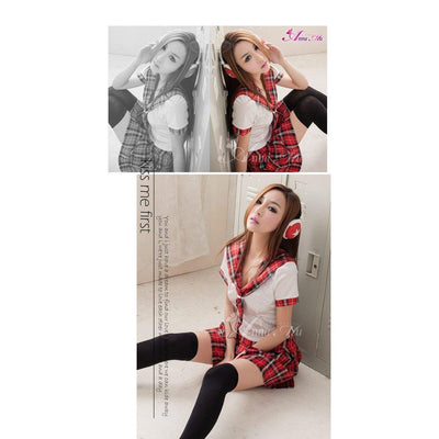 Anna Mu - Black & White School Girl Uniform Cosplay Costume Set NA14030021 (Red) Costumes - CherryAffairs Singapore