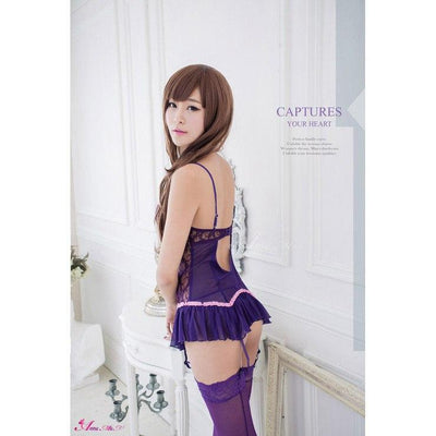 Anna Mu - Charm Lace 4 Pieces Camisole & Garter Set NA13030029-2 (Purple) Chemises - CherryAffairs Singapore