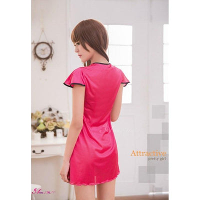 Anna Mu - Charming Lover Gorgeous Embroidery Sleepwear Babydoll NA16020035 (Pink) Chemises - CherryAffairs Singapore