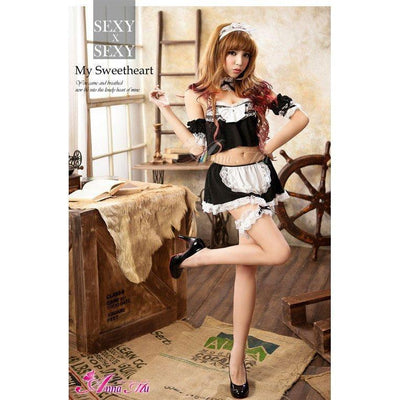 Anna Mu - Cheerleader Maid Outfit Cosplay Costume Set NA10030009 (Black) Costumes - CherryAffairs Singapore