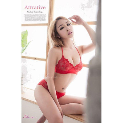 Anna Mu - Fire Red Embroidery Sexy Lingerie Beauty Back Design 2 Set NA15030035 (Red) Lingerie (Non Vibration) - CherryAffairs Singapore
