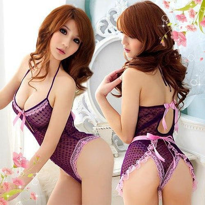 Anna Mu - Flirty Maid Teddy Costume NA09030163 (Purple) Costumes - CherryAffairs Singapore