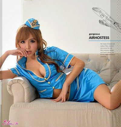 Anna Mu - Golden Edge Stylish Outfit Costume Set NA14030018 (Blue) Costumes - CherryAffairs Singapore
