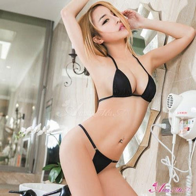 Anna Mu - Intoxicated Racy Two Pieces Bra Set NA12030223 (Black) Lingerie (Non Vibration) - CherryAffairs Singapore