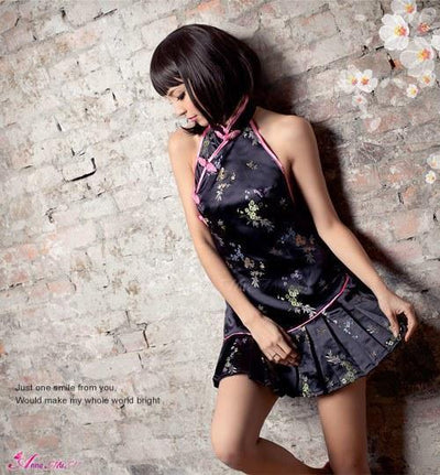 Anna Mu - Midnight Floral Sexy Halter Chinese Cheongsam Costume Set NA11030233 (Black) Costumes - CherryAffairs Singapore