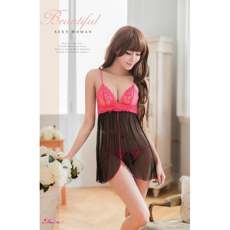 Anna Mu - Open Front Two Pieces Babydoll Sleepwear NA09030170 (Pink) Crotchless Panties - CherryAffairs Singapore