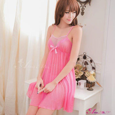 Anna Mu - Perfect Lover Pretty 2-piece Sleepwear & Slip Babydoll NA16020066 (Pink) Chemises - CherryAffairs Singapore