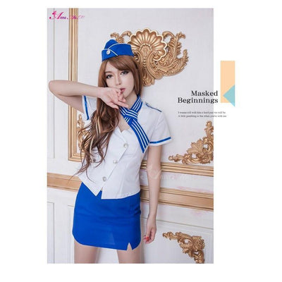 Anna Mu - Pretty Sexy Stewardess 3-piece Cosplay Costume Set NA15030091 (Blue) Costumes - CherryAffairs Singapore