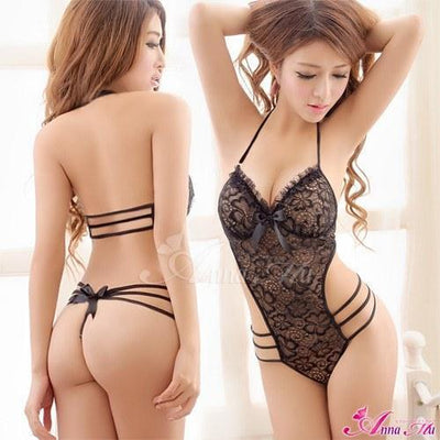 Anna Mu - Racy Charming Lace Teddy Set NA13030133 (Black) Lingerie - CherryAffairs Singapore
