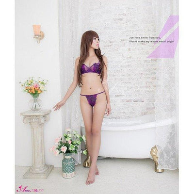 Anna Mu - Racy Lingerie Charm Temptations Purple Mesh Two Pieces Bra Set NA15030009 (Purple) Lingerie (Non Vibration) - CherryAffairs Singapore