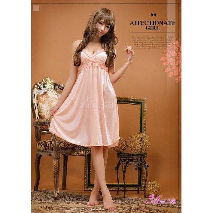 Anna Mu - Romantic Sweet NA07020080 (Pink) Chemises - CherryAffairs Singapore