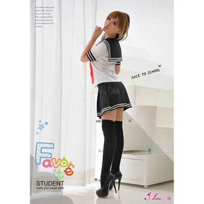 Anna Mu - School Girl Uniform Costume Set NA14030032 (White) Costumes - CherryAffairs Singapore