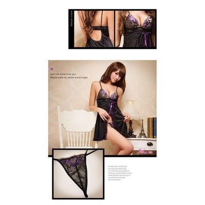 Anna Mu - Seducing Lingerie Beyond Imagine NA13020061 (Black) Chemises - CherryAffairs Singapore