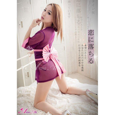 Anna Mu - Semi-Transparent 3 Piece Japanese Doll Cosplay Kimono Costume Set NA14030001-1 (Purple) | CherryAffairs Singapore