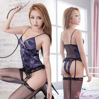 Anna Mu - Sensation Lace Open Crotch Camisole & Garter Set NA09030037-1 (Purple) | CherryAffairs Singapore