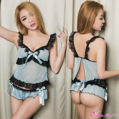 Anna Mu - Sexy Sophie 2 Piece Babydoll NA12030166 (Blue) Lingerie - CherryAffairs Singapore