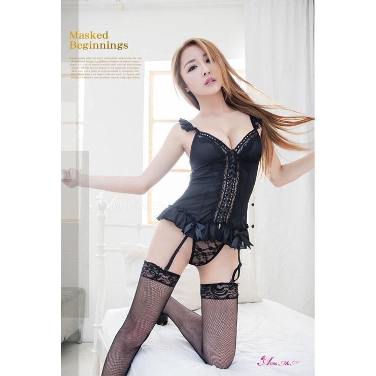 Anna Mu - Soft Satin Charm Black Lace Garter 4 Camisole & Garter Set NA13030021 (Black) | CherryAffairs Singapore